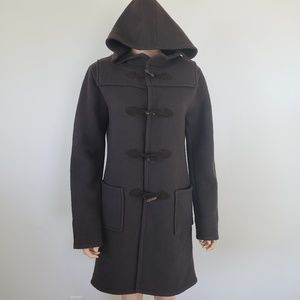 Theory Brown Wool Toggle Coat Hoodie Size M